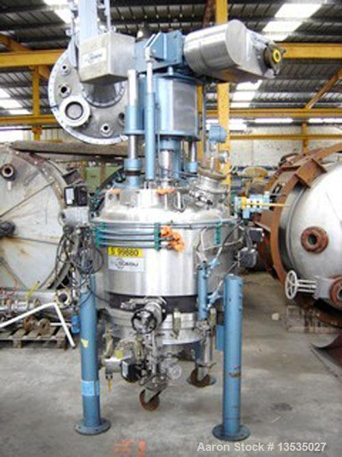 "Used-Guedu ML 500 Nutsche Type Filter with agitator. Stainless steel, jacketed, 6.1 square feet (0.57 m2) and 33.5"" (850 mm)..."