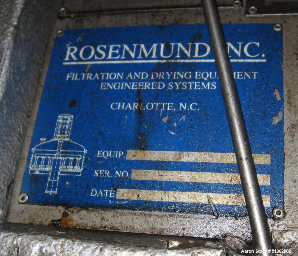 Used- Rosenmund Filter / Dryer, 8.0 M2