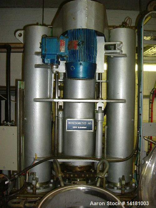 Used-Rosenmund Nutsche Filter Dryer, Model RND2, 2.4 sq m (25.8 sq feet), 316L stainless steel, center bottom discharge, 287...