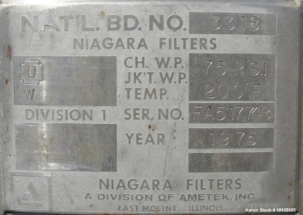 Used- Ametek Inc. Niagara Filters Stainless Steel Vertical Pressure Leaf Filter