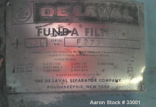 Used- Delaval Funda Filter, model LO.12. Approximately (.12) Square Meter, 316 Stainless Steel. Bolt on top and coned bottom...