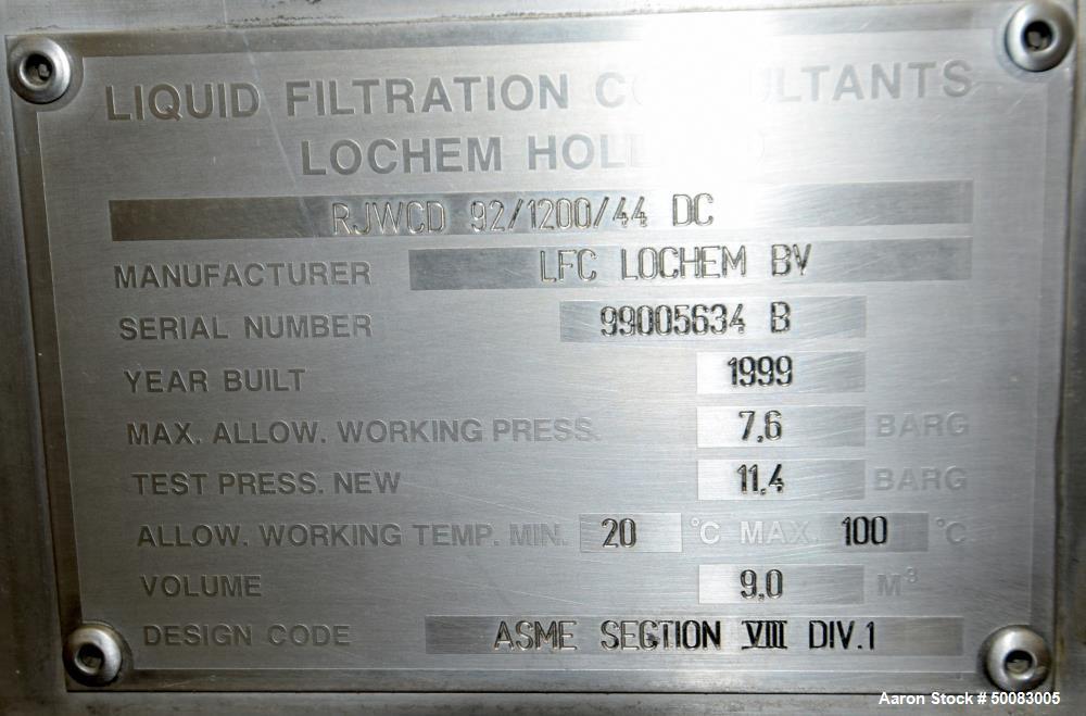 Used- LFC Lochem Roto Jet Wet Cake Discharge Filter