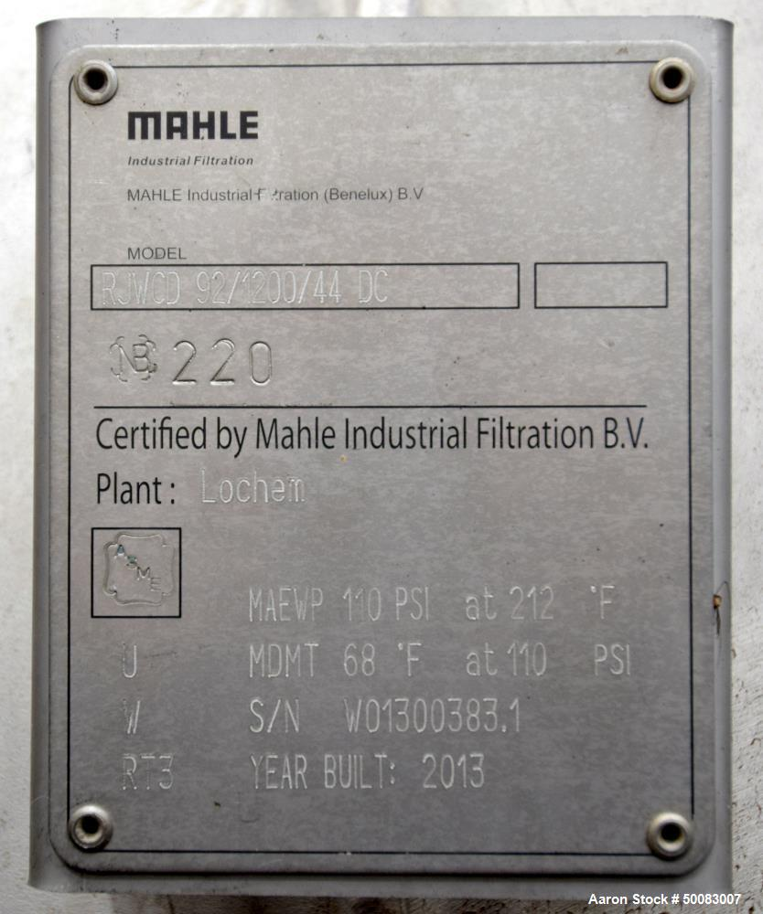 Used- Mahle Industrial Filtration LFC Lochem Roto Jet Wet Cake Discharge Filter, Approximate 990 Square Feet Filter Area, Mo...