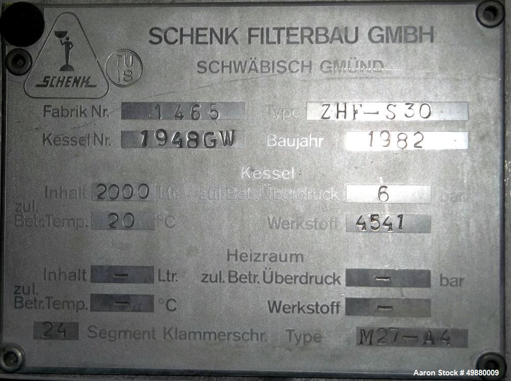 Used- Schenk Centrifugal Discharge Precoat Filter, Type ZHF-S 30