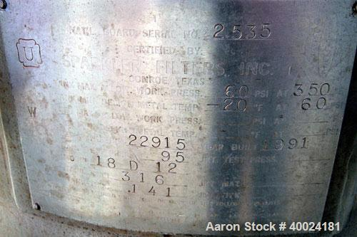 Used- Sparkler Horizontal Plate Filter, Model 18-D-12, 316 stainless steel. 19.32 square feet filter area, 2.3 cubic feet ca...