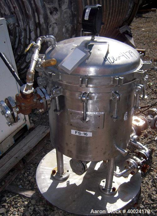 Used- Sparkler Filter Horizontal Plate Filter, Model 18-D-8, 316 stainless steel. 12.3 square feet filter area, 1.8 cubic fe...