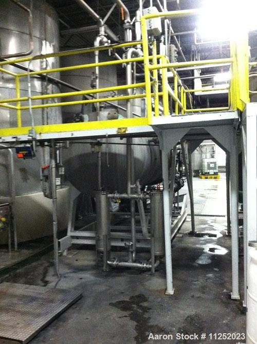 Used-US Filter Pressure Leaf Filter, Model 1000/900.  1,000 Square feet surface area, stainless steel construction, horizont...