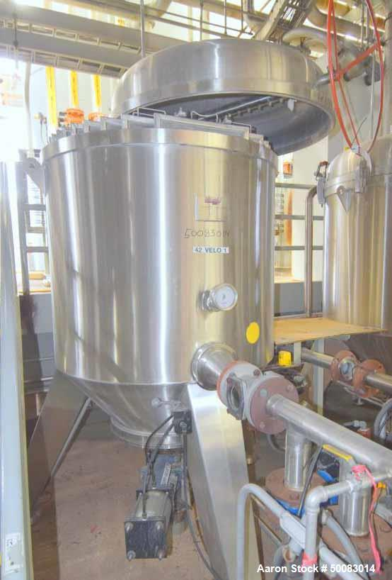 """Used- Velo S.P.A. Vertical Leaf & Tank Filter, Model CFV35, Stainless Steel. Tank approximate 48"""" diameter x 41"""" straight si..."""