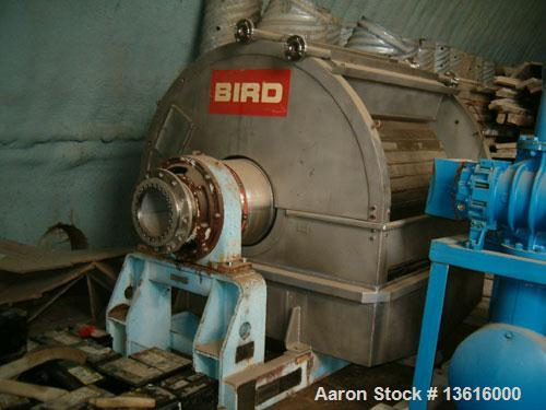 """Used-Used: Bird-Young Vacuum Filter, Model F10-F-6-1001, 1990, stainless steel. Drum area 50 square feet, 50"""" diameter x 52""""..."""