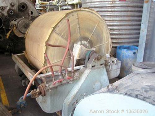 "Used-Vernay 8NR Rotary Vacuum Filter. Stainless steel, 50.6 square feet (4.7 m2), 58.7"" (1490 mm) diameter drum and 39.4"" (1..."