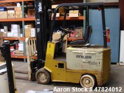 "Used- Yale Aprox. 2,000 lb. Capacity 24 V Electric Sit-Down Forklift, Model MSW020LAN24CS083, S/N N576930 with 2-Stage 126"" ..."