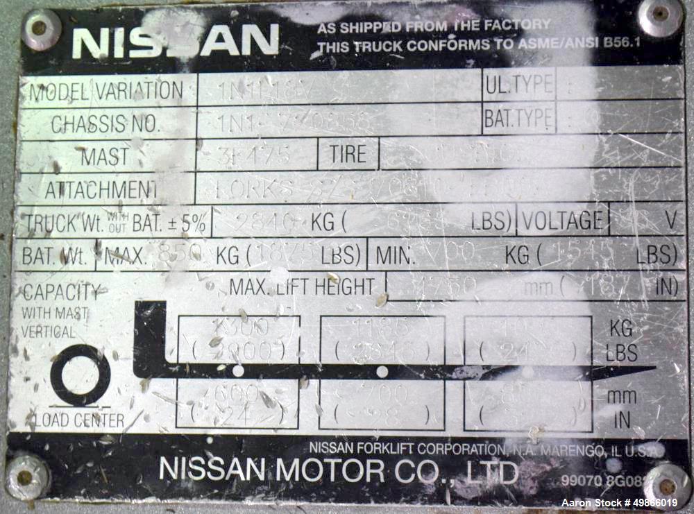 Used-Nissan 3-Wheel Electric Forklift, Model 1N1L