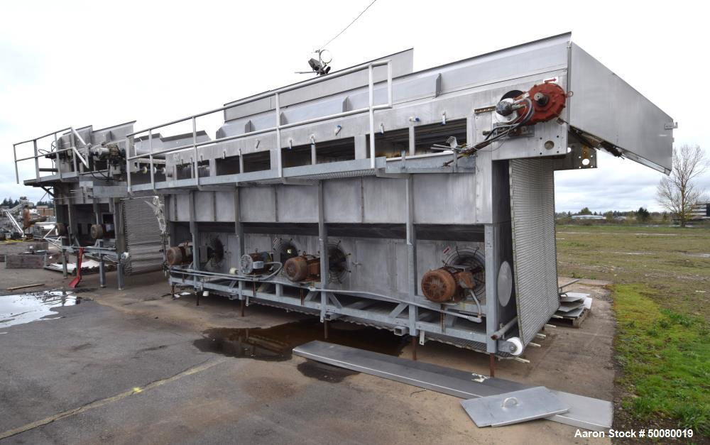 "Used- Frigoscandia AGA IQF Individual Quick Freezing Tunnel, Model L624. Approximate 72"" wide x 35 long, wire mesh conveyor...."
