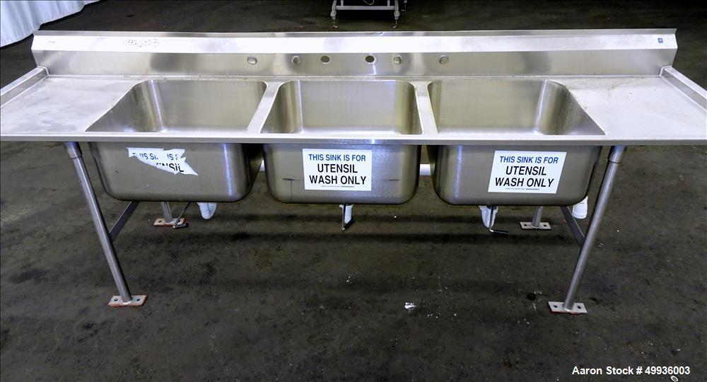 "Used-Stainless Steel 3 Compartment Sink, 24"" x 24"" x 13"" deep.  Overall Dimensions; 115"" long x 30"" wide."