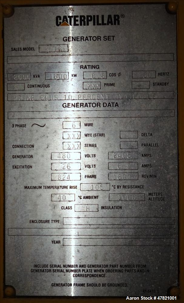 Used- Caterpillar XQ1750 Rental Grade Generator Set. CAT 3516B engine.