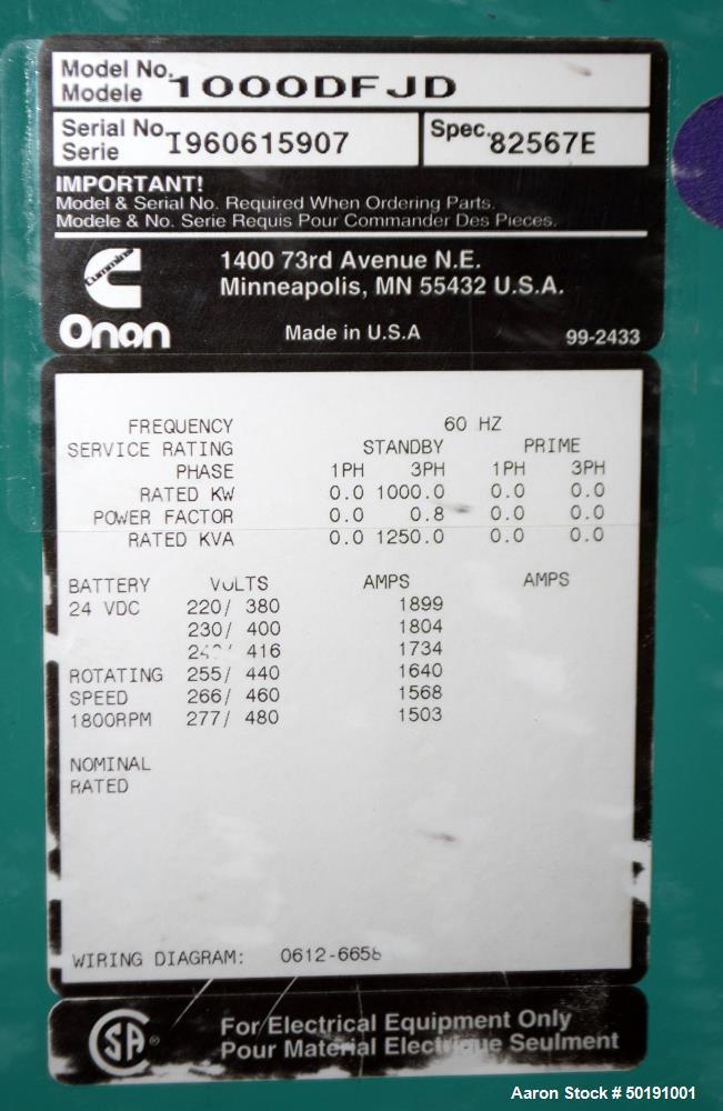 Used- Cummins 1000 kW Standby Diesel Generator Se