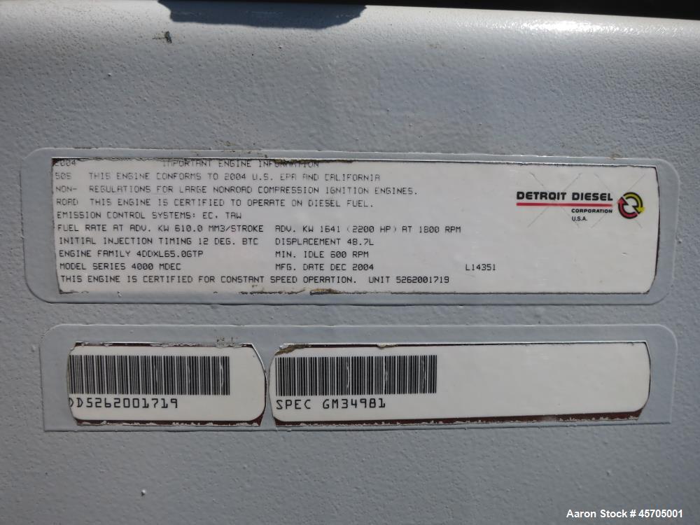 Used- Detroit Diesel / MTU 1360 kW standby (1240