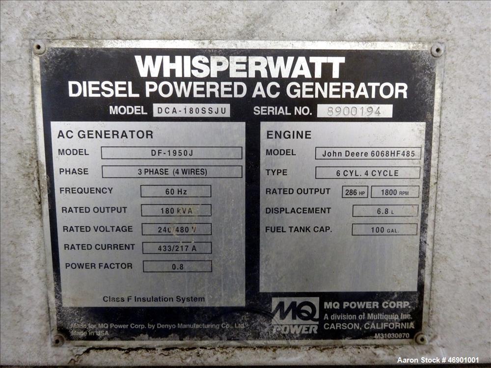 Used- Multiquip MQ Power WhisperWatt 158 kW Portable Generator DCA-180SSJU