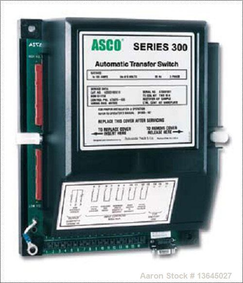 Unused-New Asco 600 Amp ATS, Series 300 power transfer switch. 3 pole, 3/60/480V, Nema 1 enclosure, UL 1008 approved.