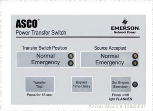 New - Asco 1600 Amp ATS series 300 power transfer switch. 3 pole, 480 volt maximum, Nema 1 enclosure, UL 1008 approved.