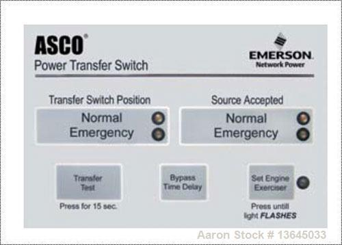 Unused-New Asco 1000 Amp ATS, series 300 power transfer switch. 3 pole, 277/480 (600 volt maximum)Nema 1 enclosure, UL 1008 ...
