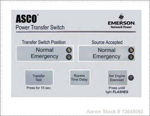 New Asco 600 Amp ATS, Automatic Transfer Switch, Series 300 Power Transfer Switch. 3 Pole, 208/240/480/600V, Nema 1 enclosur...