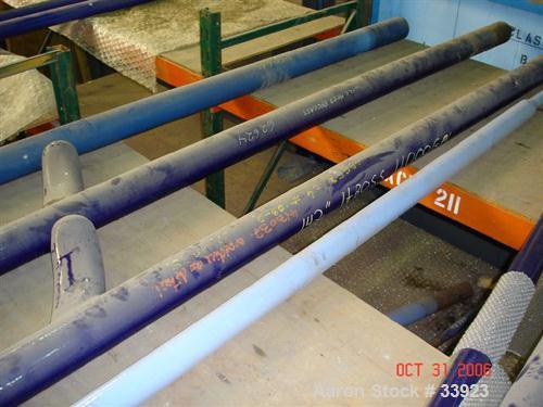 """Used- Pfaudler Glass Lined Baffle, 4000 Gallon.  4-1/2"""" Diameter x 142"""" long, 3 finger up, blue glass. Has provision for tan..."""