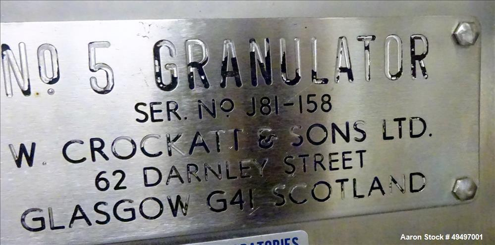 Used- W. Crockatt and Sons LTD Granualtor, Model # 5