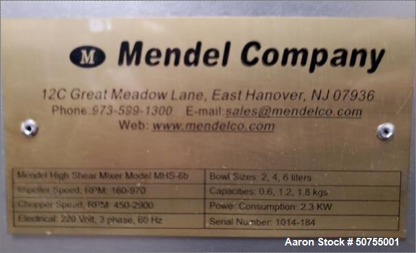 Used- Mendel Company High Shear Mixer, Model MHS-6b