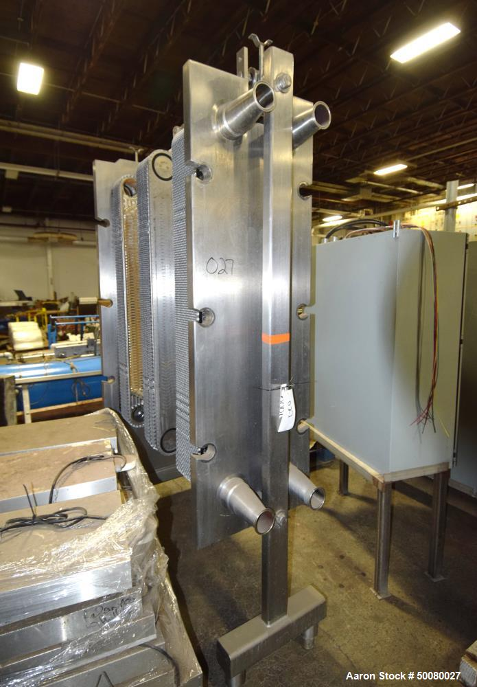 "Used- AGC Plate Heat Exchanger. Approximate (62) 15"" wide x 48"" tall stainless steel plates. Mounted on ab expandable frame."
