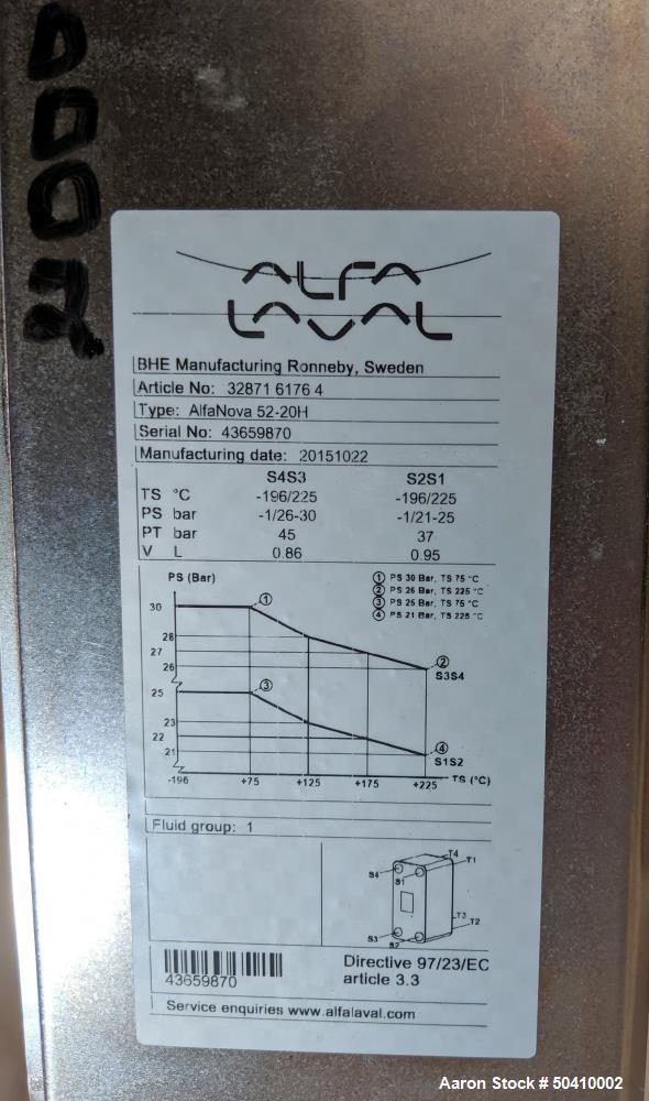 Unused- Alfa Laval Alfa Nova Fusion-Bonded Plate Heat Exchanger, Model 52-20H, 1