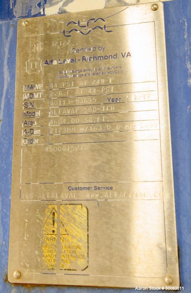 Used- Alfa Laval AlfaVap Plate Exchanger, Model AlfaVap 500-TFR, 4,604 Square Fe