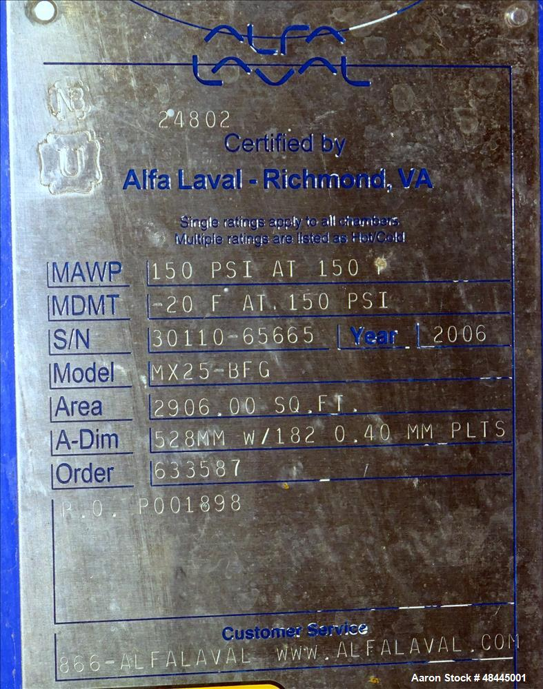 Used- Alfa Laval Plate Type Heat Exchanger, Model MX25-BFG