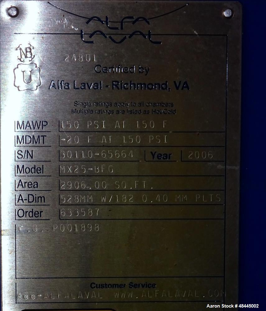 Used- Alfa Laval Plate Type Heat Exchanger, Model MX25-BFG, 2906 Square Feet