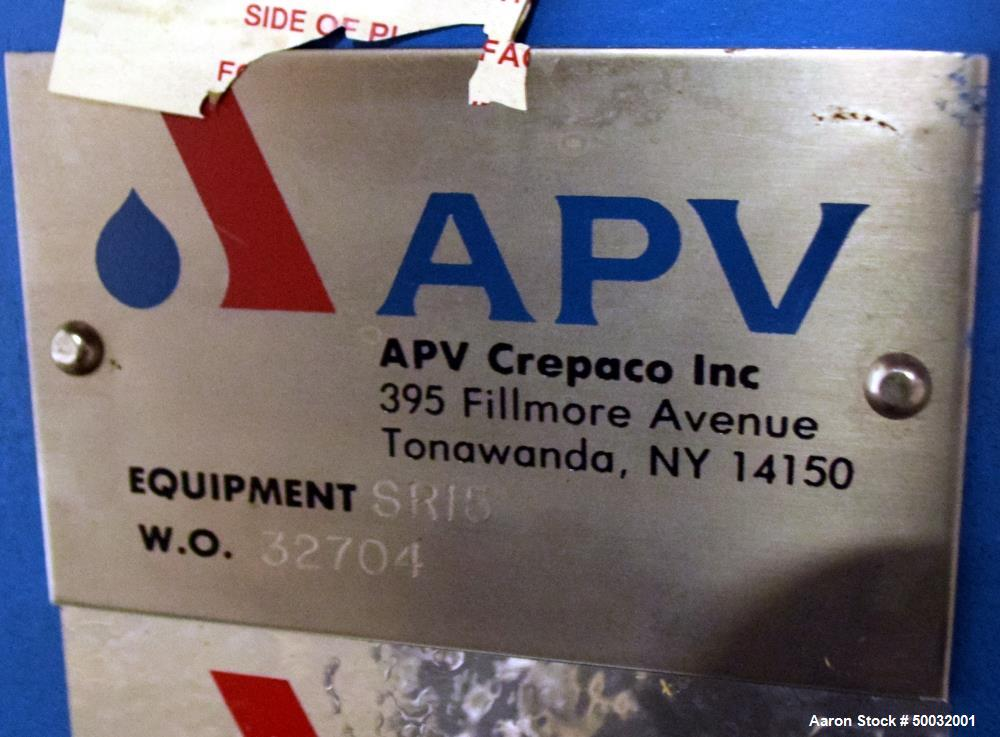 Unused- APV Plate Heat Exchanger, Model SR15, 17.7 Square Feet. (21) 316 Stainless steel plates, rated 150 psi at 300 degree...