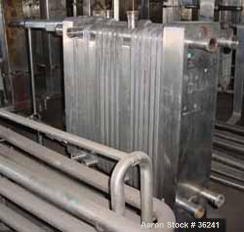 """USED:Delaval plate heat exchanger, model P13RC, stainless steel.Approx 190 square feet. (147) 10"""" wide x 36"""" long plates. 3 ..."""