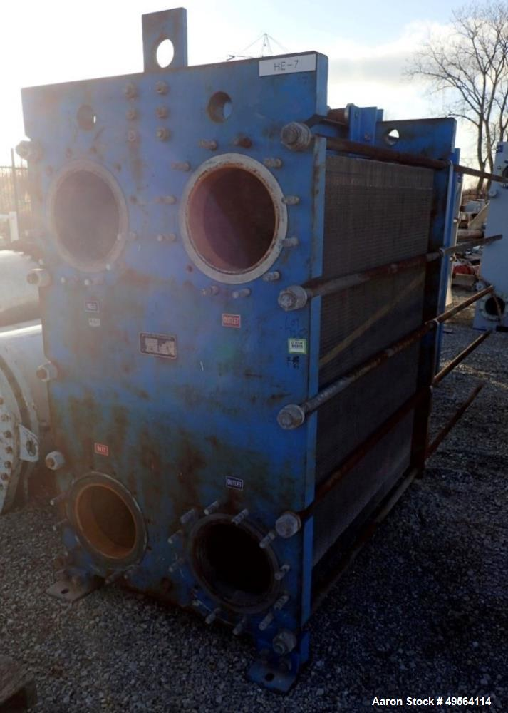 Used- Graham Plate Heat Exchanger, 3771 Square Feet, Model GPE-85. Stainless steel plates rated 150 psi at 200 degrees F. Se...