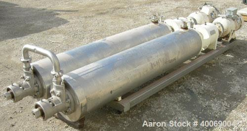 Used: Cherry Burrell Votator scraped surface heat exchanger, model 6SSHE, 9 square feet per exchanger, 18 square feet total,...