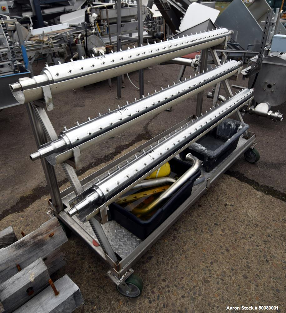 Used- Cherry-Burrell Triple Tube Thermutator, 27 Total Square Feet, Stainless Steel. Consists of: (3) model 672 Thermutators...