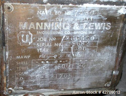 Used- Vertical Manning & Lewis Shell And Tube Heat Exchanger, 249 Square Feet