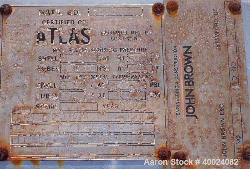 Used- Atlas Single Pass Shell And Tube Heat Exchanger, 226 square feet, horizontal. Type BEM14-120. Carbon steel shell rated...