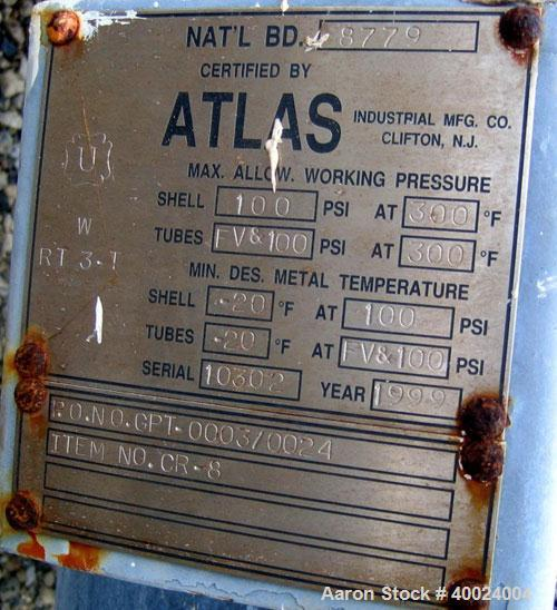 Used- Atlas Shell and Tube Heat Exchanger, 167 square feet, vertical. Type BEM14-84.  Carbon steel shell rated 100 psi at 30...