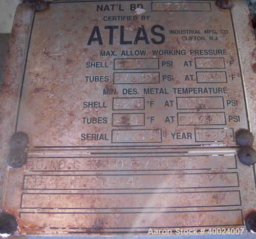 Used- Atlas Shell And Tube Heat Exchanger, 282 square feet, horizontal. Type BEM16-108. 316L stainless steel shell rated 100...
