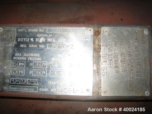Used- Doyle and Roth Shell and Tube Heat Exchanger, 420 Square Feet, Horizontal. Carbon steel shell rated FV/150 psi at 350 ...