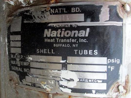 "Used- National Heat Transfer Shell & Tube Heat Exchanger, 289 Square Feet. Hastelloy tubes, 316L tube sheet. (134) 0.75"" Dia..."