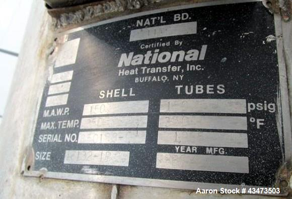 Used- National Heat Transfer Shell & Tube Heat Exchanger, 353 Square Feet. Hastelloy C276 tubes and bonnets with 316L tube s...