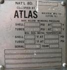 Used: Atlas shell and tube heat exchanger, approx 234 square feet, vertical. Carbon steel shell rated 100 psi at 300 deg.f.,...