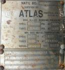 Used- Atlas Shell And Tube Heat Exchanger, 276 square feet, horizontal. Type BEM16-108. 316L stainless steel shell rated 100...
