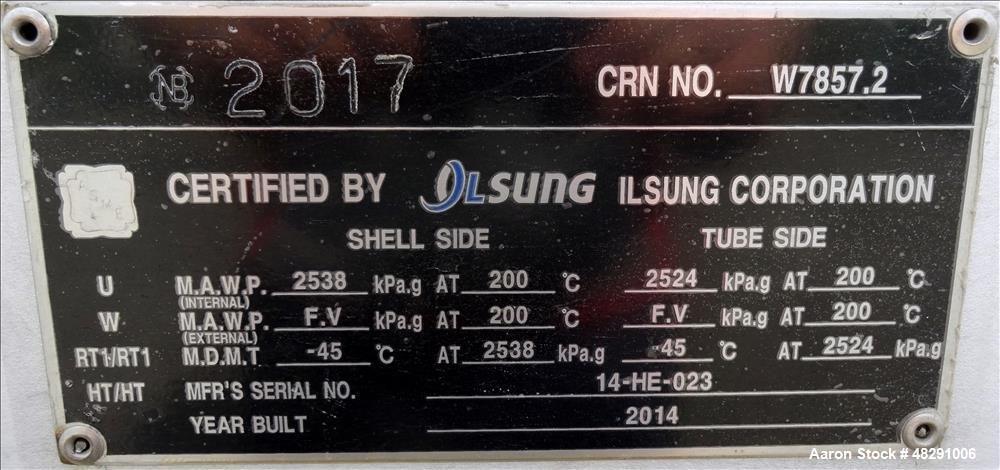 Unused- Ilsung Corporation 8 Pass Shell & Tube Heat Exchanger