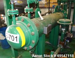 Used- Harvest Energy Shell & Tube Heat Exchanger, 99.5 Square Feet, Carbon Steel, Horizontal. Shell rated 150 psi at 400 deg...